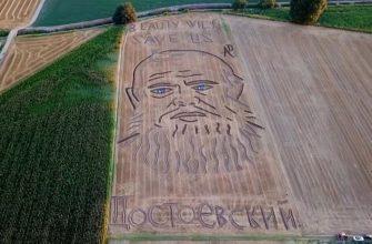 Гигантский портрет Достоевского появился на поле в Италии